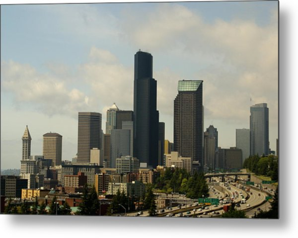 View Of Downtown Metal Print by Sonja Anderson