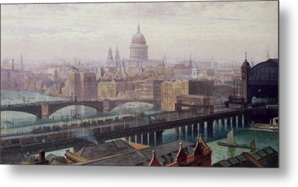 View Of London Showing St Paul's And Canon Street Station From Southwark Bridge Metal Print