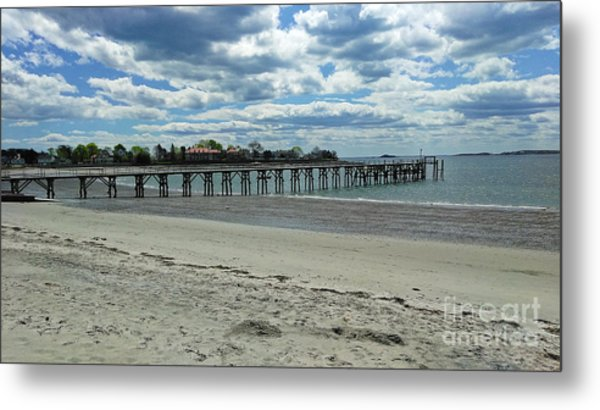Metal Print featuring the photograph View Of Pier. Fisherman's Beach, Swampscott, Ma by Lita Kelley