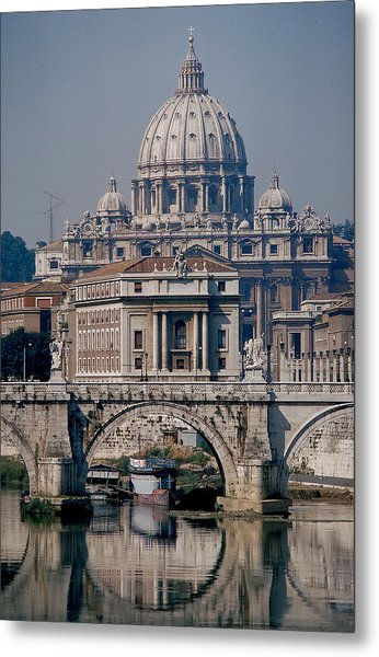 View Of St Peters From Tiber River Metal Print by Carl Purcell