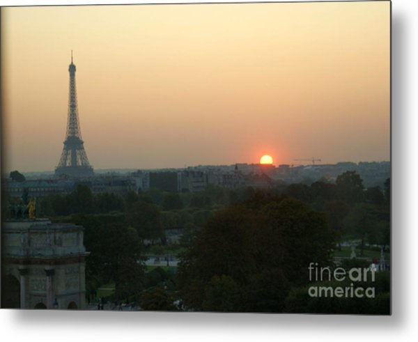 View Of Sunset From The Louvre Metal Print