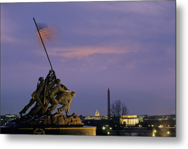 View Of The Iwo Jima Monument Metal Print