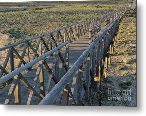 View Of The Wooden Bridge In Quinta Do Lago Metal Print