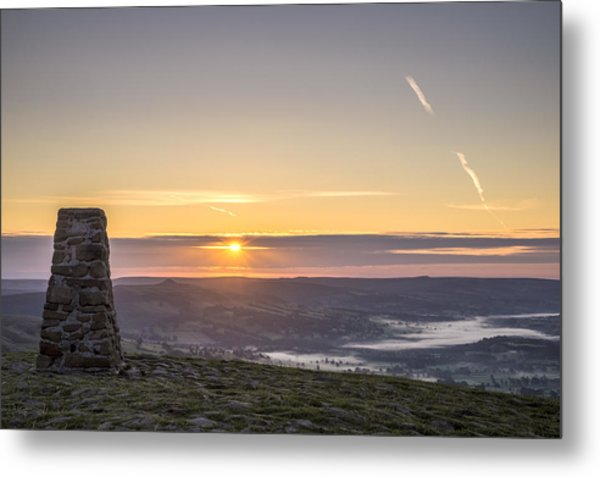 View Over The Hope Valley From Mam Tor At Dawn Metal Print