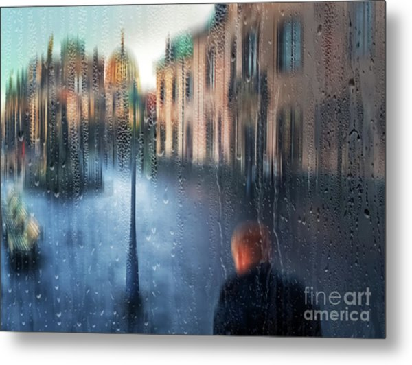 View Street Through Wet Glass. Metal Print