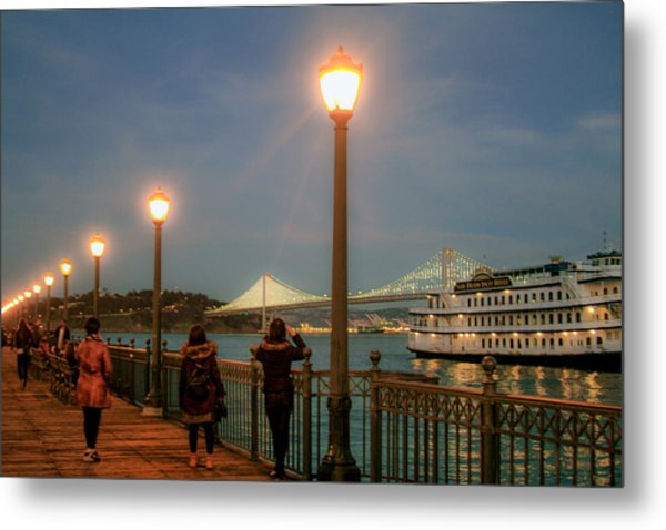 Viewing The Bay Bridge Lights Metal Print
