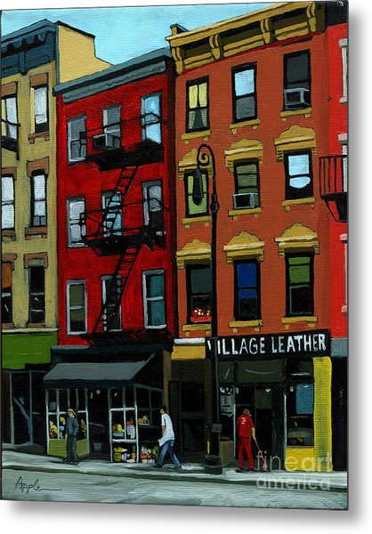 Village Leather - New York Cityscape Metal Print by Linda Apple