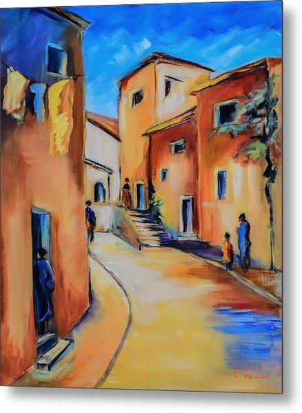 Village Street In Tuscany Metal Print
