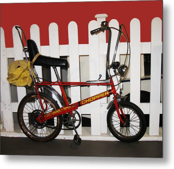 Vintage 1970s Bike With Rucksack  Metal Print
