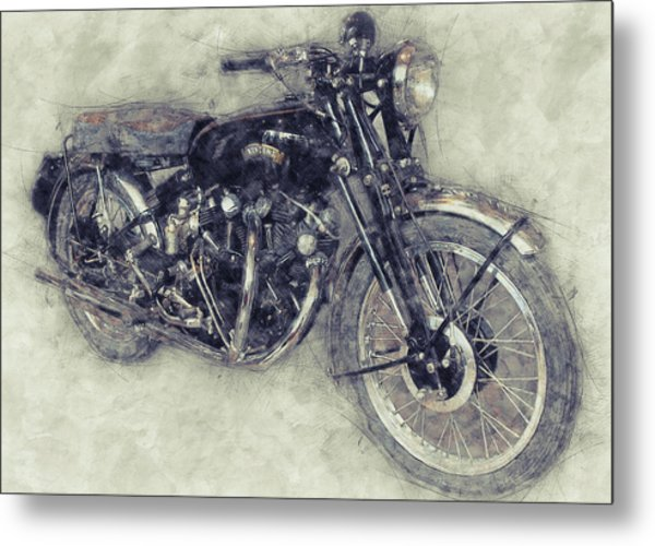 Vincent Black Shadow 1 - Standard Motorcycle - 1948 - Motorcycle Poster - Automotive Art Metal Print