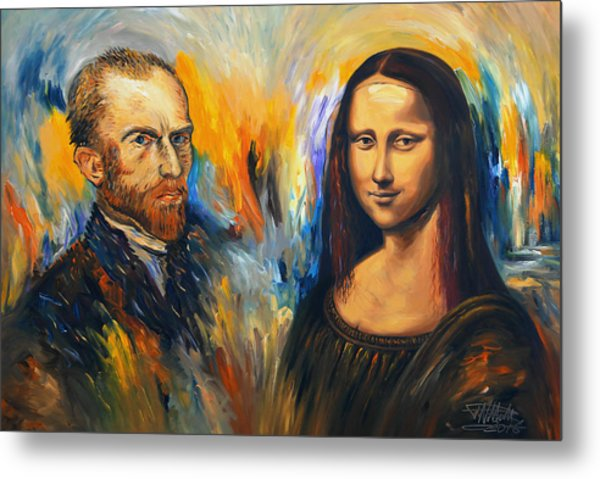 Vincent Meets Mona Lisa Xl 1 Metal Print by Peter Nottrott