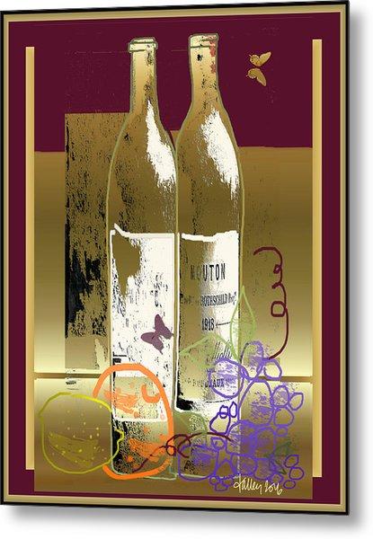 Vin, Fruit, Et Papillons Metal Print