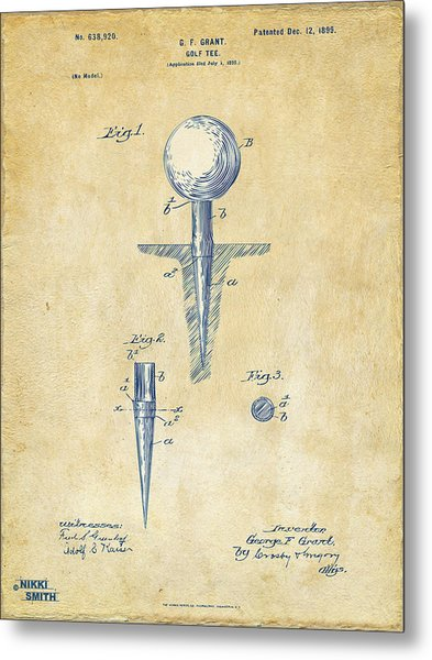 Metal Print featuring the digital art Vintage 1899 Golf Tee Patent Artwork by Nikki Marie Smith