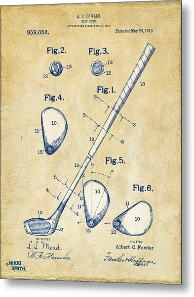 Metal Print featuring the digital art Vintage 1910 Golf Club Patent Artwork by Nikki Marie Smith
