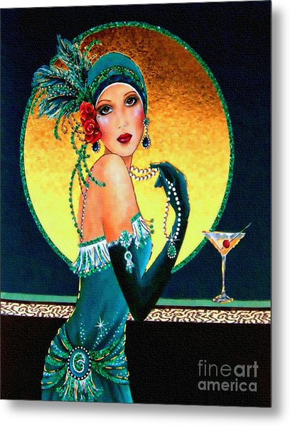 Vintage 1920s Fashion Girl  Metal Print