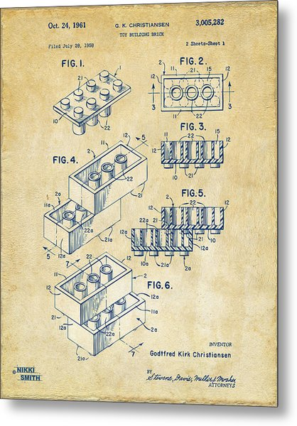 Metal Print featuring the drawing Vintage 1961 Toy Building Brick Patent Art by Nikki Marie Smith