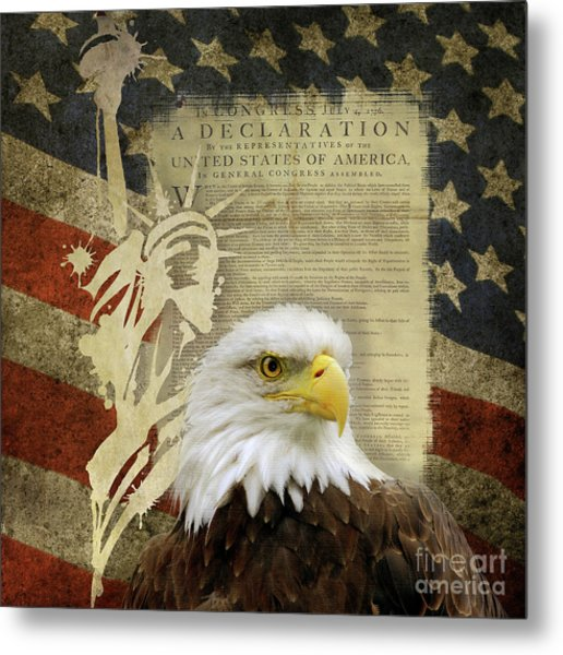 Vintage Americana Patriotic Flag Statue Of Liberty And Bald Eagle Metal Print