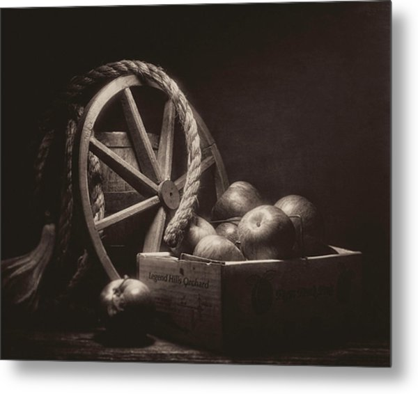 Vintage Apple Basket Still Life Metal Print