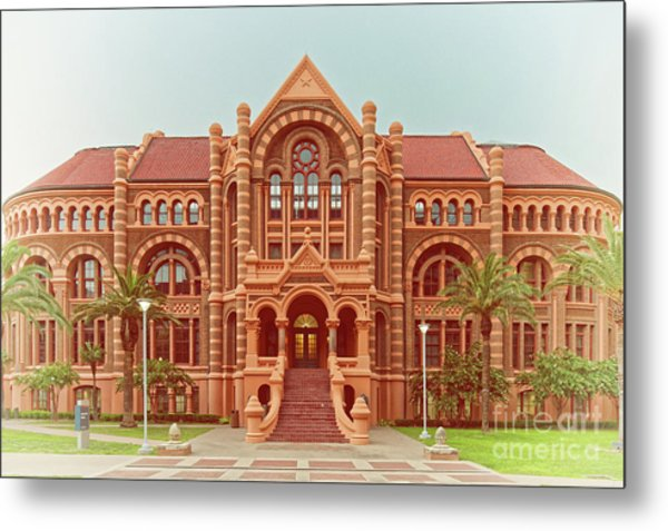Vintage Architectural Photograph Of Ashbel Smith Old Red Building At Utmb - Downtown Galveston Texas Metal Print