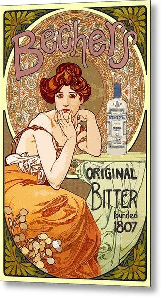 Vintage Art Nouveau Bechers Original Bitter 1807 Metal Print