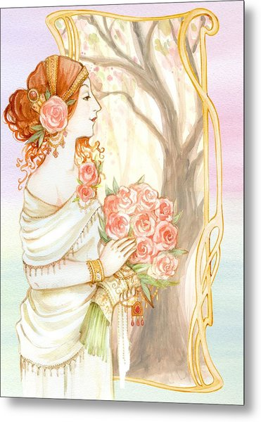 Vintage Art Nouveau Flower Lady Metal Print