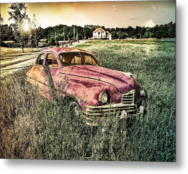 Vintage Auto In A Field Metal Print