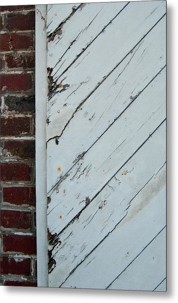 Metal Print featuring the photograph Vintage Barn Door And Red Brick by Jani Freimann