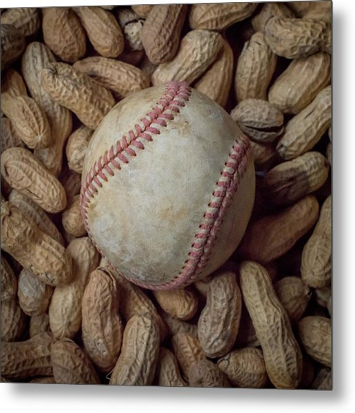Vintage Baseball And Peanuts Square Metal Print