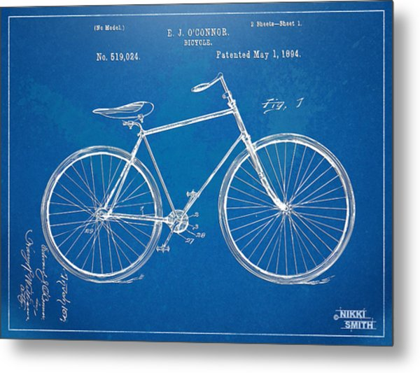 Metal Print featuring the digital art Vintage Bicycle Patent Artwork 1894 by Nikki Marie Smith