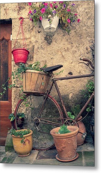 Vintage Bicycle Used As A Flower Pot, Provence Metal Print