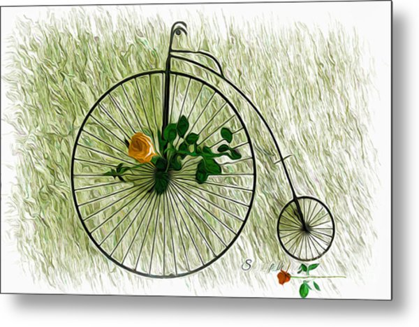 Vintage Bike And Rose Metal Print