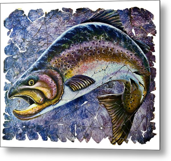 Vintage Blue Trout Fresco  Metal Print