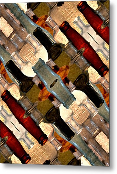 Vintage Bottles Abstract Metal Print