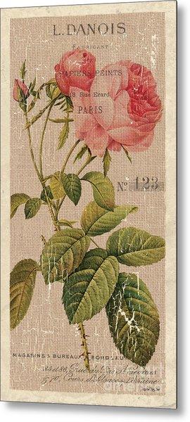 Vintage Burlap Floral 2 Metal Print