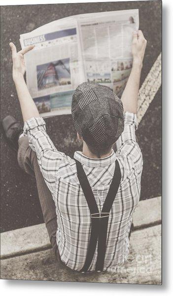 Vintage Businessman Reading Business News Metal Print