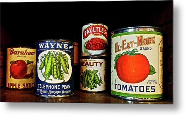 Vintage Canned Vegetables Metal Print