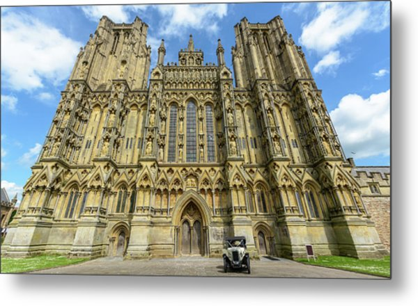 Metal Print featuring the photograph Vintage Car Parked In Front Of Wells Cathedral by Jacek Wojnarowski