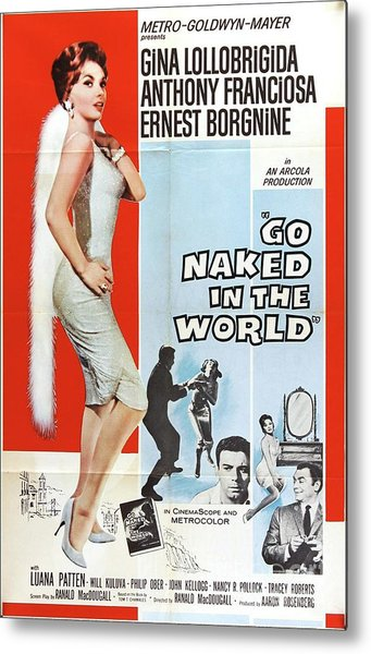 Vintage Classic Movie Posters, Go Naked In The World Metal Print