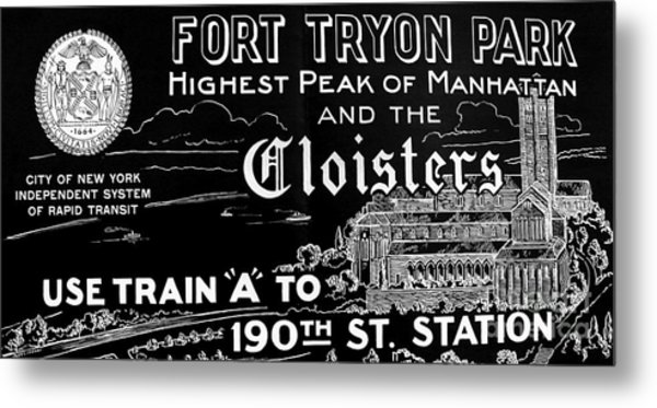 Vintage Cloisters And Fort Tryon Park Poster Metal Print