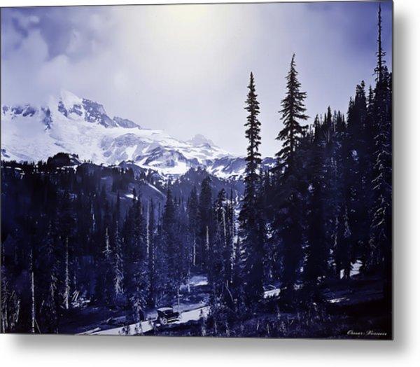 Vintage... Driving Up To Mount Rainier Early 1900 Era... Metal Print