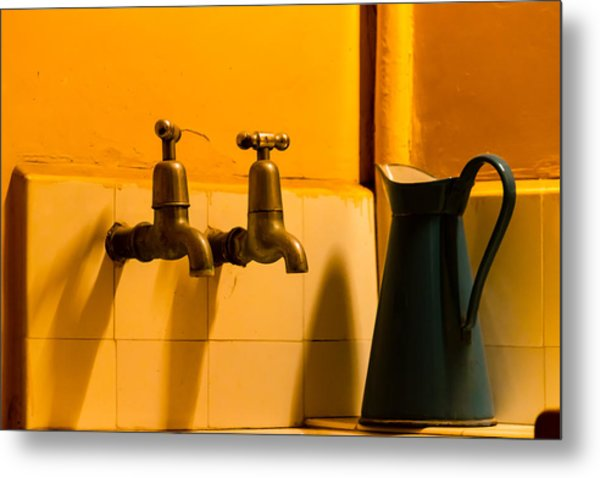 Vintage English Tap Water With Watering Can Metal Print