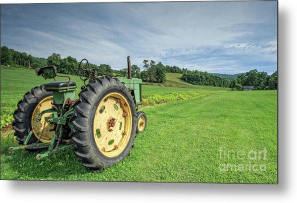 Vintage Farm Tractor In The Field Metal Print