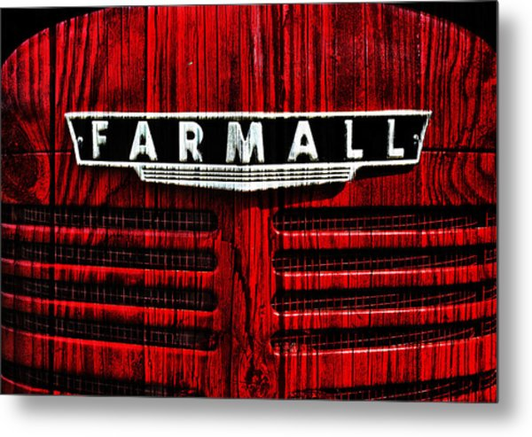 Vintage Farmall Red Tractor With Wood Grain Metal Print