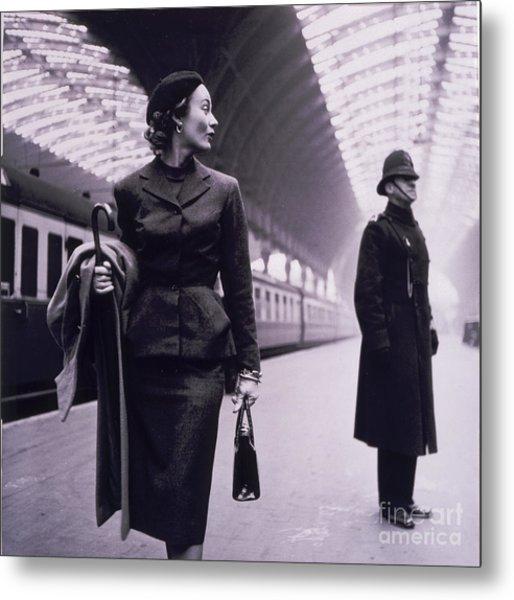 Vintage Fashion Elegant Lady Metal Print