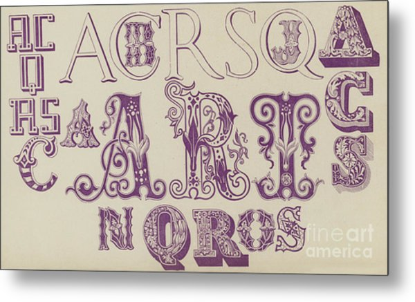 Vintage Fonts    Examples Of Letters  Metal Print