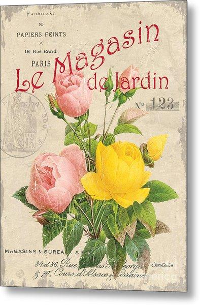 Vintage French Flower Shop 3 Metal Print