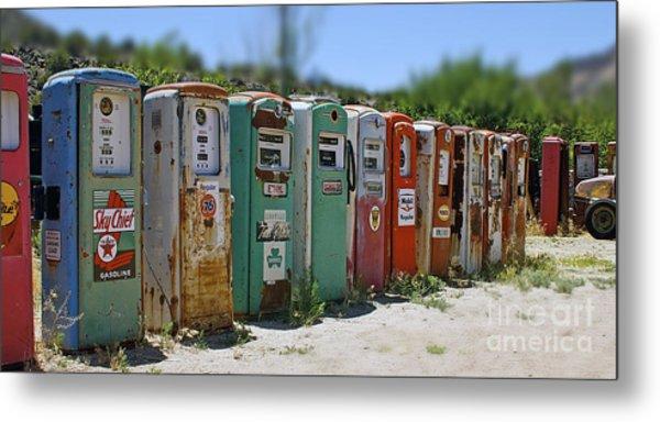 Vintage Gas Pumps Metal Print