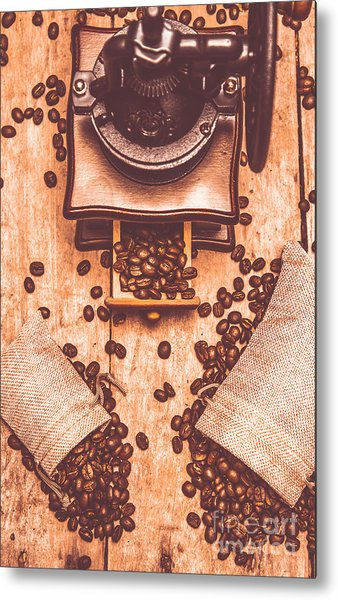 Vintage Grinder With Sacks Of Coffee Beans Metal Print