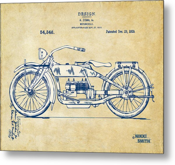 Metal Print featuring the digital art Vintage Harley-davidson Motorcycle 1919 Patent Artwork by Nikki Smith