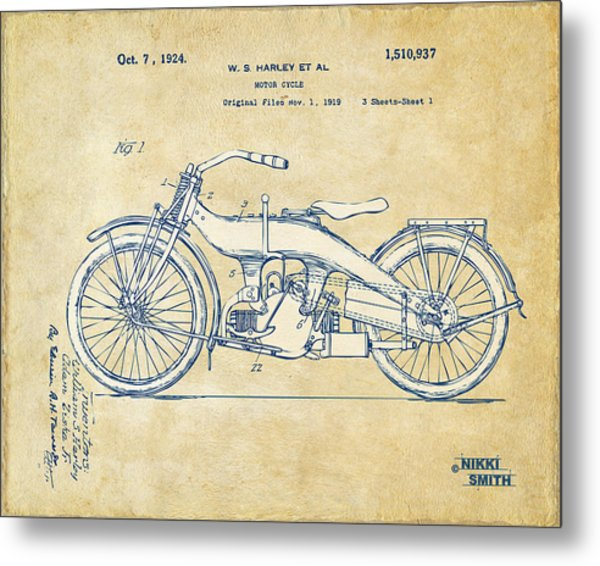 Metal Print featuring the digital art Vintage Harley-davidson Motorcycle 1924 Patent Artwork by Nikki Smith